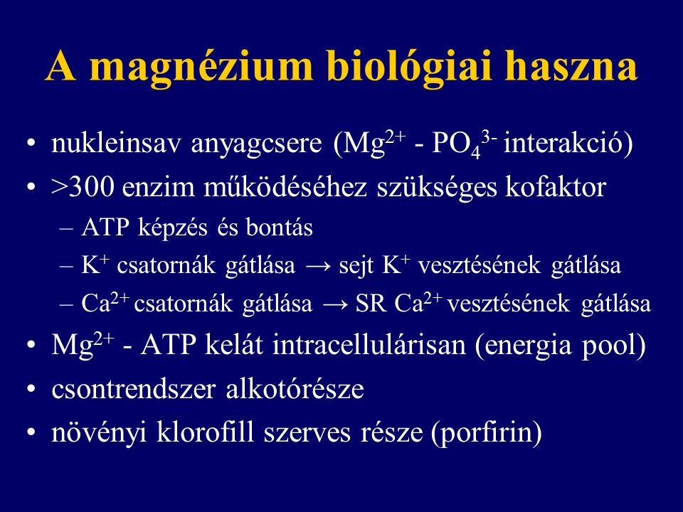 A magnézium biológiai haszna nukleinsav anyagcsere (Mg 2+ - PO 4 3- interakció) >300 enzim működéséhez szükséges kofaktor –ATP képzés és bontás –K + csatornák gátlása → sejt K + vesztésének gátlása –Ca 2+ csatornák gátlása → SR Ca 2+ vesztésének gátlása Mg 2+ - ATP kelát intracellulárisan (energia pool) csontrendszer alkotórésze növényi klorofill szerves része (porfirin)