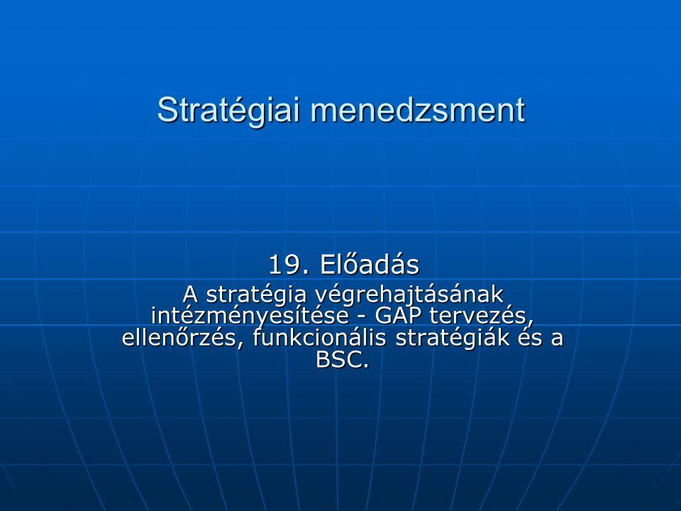 Stratégiai menedzsment 19. Előadás A stratégia végrehajtásának intézményesítése - GAP tervezés, ellenőrzés, funkcionális stratégiák és a BSC.