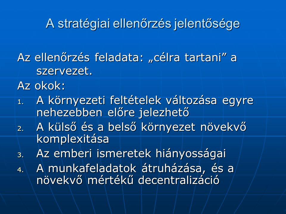 """A stratégiai ellenőrzés jelentősége Az ellenőrzés feladata: """"célra tartani"""" a szervezet. Az okok: 1. A környezeti feltételek változása egyre nehezebbe"""