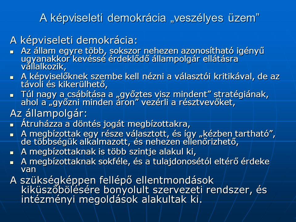 """A képviseleti demokrácia """"veszélyes üzem"""" A képviseleti demokrácia: Az állam egyre több, sokszor nehezen azonosítható igényű ugyanakkor kevéssé érdekl"""