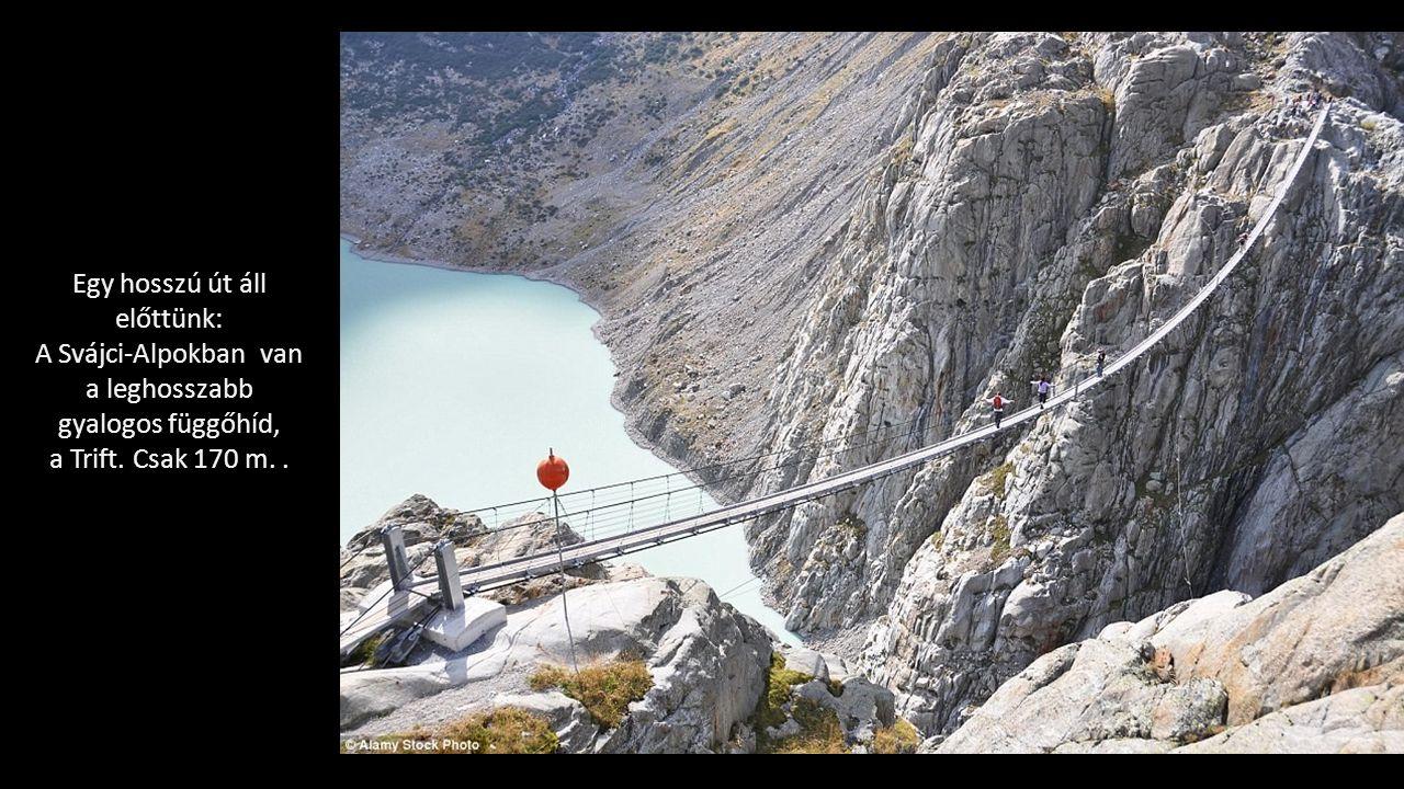 Egy hosszú út áll előttünk: A Svájci-Alpokban van a leghosszabb gyalogos függőhíd, a Trift.