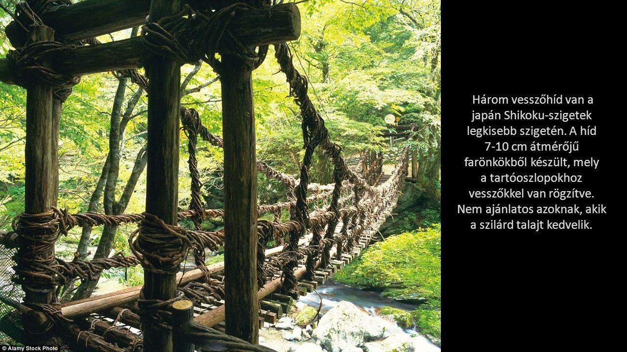 """Fenn a hatalmas és baljós vízmosások felett, a dél-koreai Daedunsan Nemzeti Parkban úgy a hidak, mint ez a létraszerű """"sétány adrenalinnal töltött élményt nyújt a látogatóknak."""