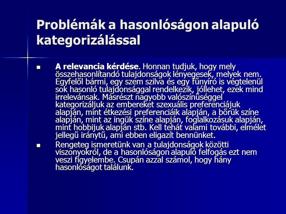 Problémák a hasonlóságon alapuló kategorizálással A relevancia kérdése.