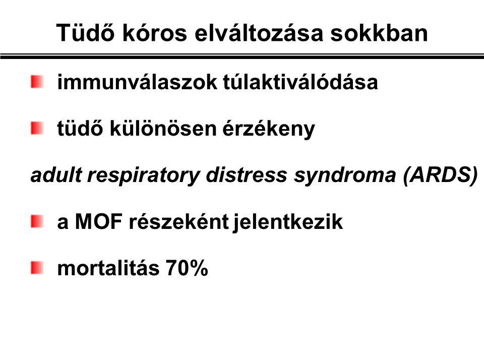 immunválaszok túlaktiválódása tüdő különösen érzékeny adult respiratory distress syndroma (ARDS) a MOF részeként jelentkezik mortalitás 70% Tüdő kóros elváltozása sokkban
