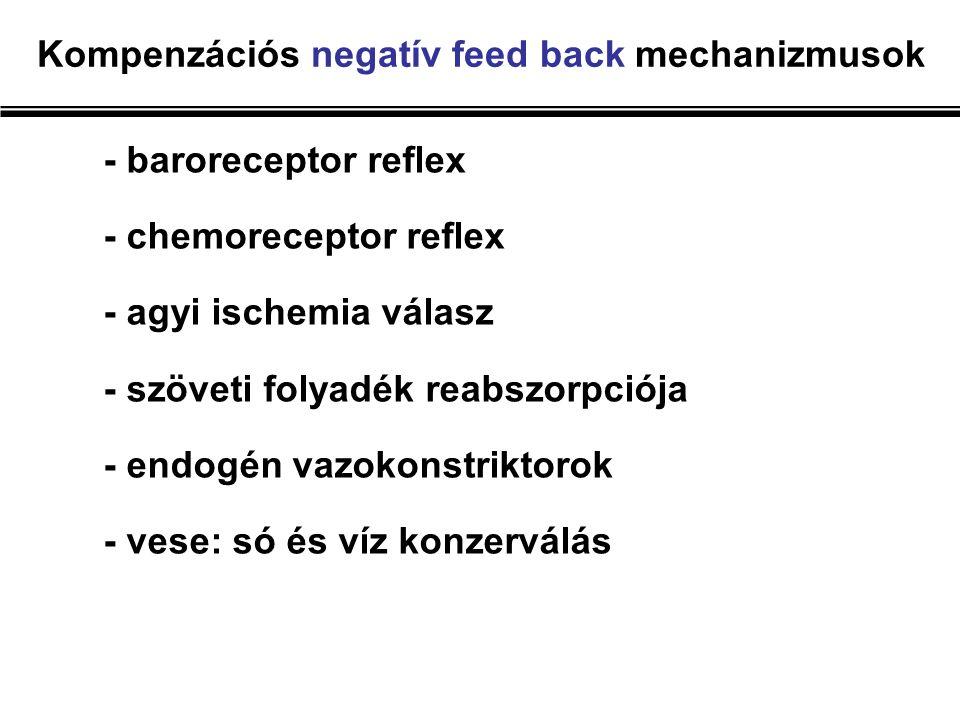 Kompenzációs negatív feed back mechanizmusok - baroreceptor reflex - chemoreceptor reflex - agyi ischemia válasz - szöveti folyadék reabszorpciója - endogén vazokonstriktorok - vese: só és víz konzerválás