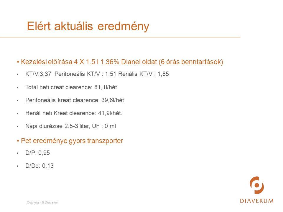 Copyright © Diaverum Kezelési előírása 4 X 1.5 l 1,36% Dianel oldat (6 órás benntartások) KT/V:3,37 Peritoneális KT/V : 1,51 Renális KT/V : 1,85 Totál