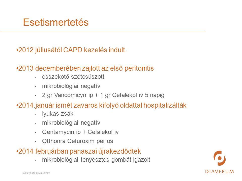 Copyright © Diaverum 2012 júliusától CAPD kezelés indult. 2013 decemberében zajlott az első peritonitis összekötő szétcsúszott mikrobiológiai negatív
