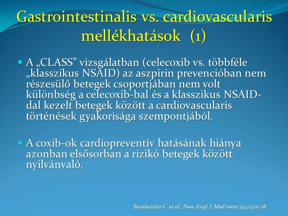 """Gastrointestinalis vs. cardiovascularis mellékhatások (1) A """"CLASS vizsgálatban (celecoxib vs."""