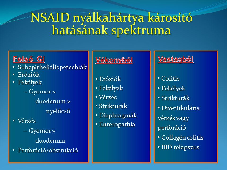 0.2 0.4 0.6 0.8 1.0 All PatientsNSAID Naive Patients 0 1.2 Patients Not Taking Aspirin 0.5 1.0 1.5 2.0 All PatientsNSAID Naive Patients 0 Patients Taking Aspirin 2.5 p = 0.68 p < 0.05 p = 0.97 p < 0.05 5/2210 19/2526 3/1373 16/1597 6/329 9/583 5/367 8/520 Annualized incidence, % A B Etodolac Naproxen Etodolac Naproxen Klinikailag szignifikáns felső GI események előfordulása Weideman RA et al.