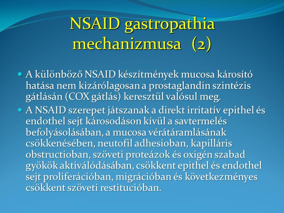 Annualized Incidence % Ulcer Complications Symptomatic Ulcers and Ulcer Complications 49 / 1384 30 / 1441 11 / 1441 20 / 1384 p = 0.02 p = 0.09 All Patients 32 / 1101 16 / 1143 5 / 1143 14 / 1101 p = 0.02 p = 0.04 Patients Not Taking Aspirin 17 / 283 14/ 298 6 / 298 6 / 283 p = 0.49 p = 0.92 Patients Taking Aspirin CLASS vizsgálat: Felső GI szövődmények és klinikai tüneteket okozó fekélyek száma Silverstein et al.