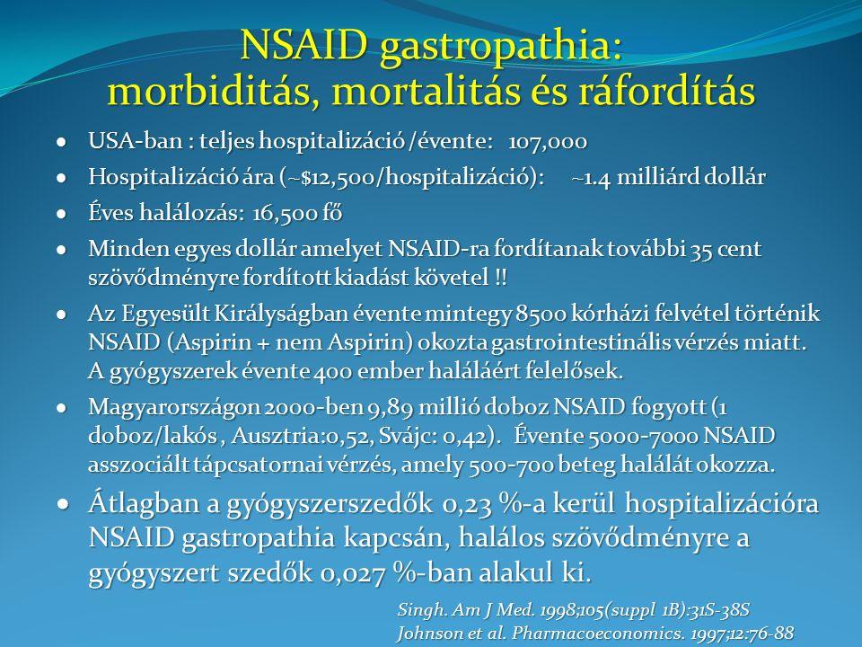 """Misoprostol Az """"OMNIUM vizsgálatban NSAID okozta fekélyes/erozív gastritises betegeket kezeltek misoprostollal, 20 mg omeprazollal, 40 mg omeprazollal."""