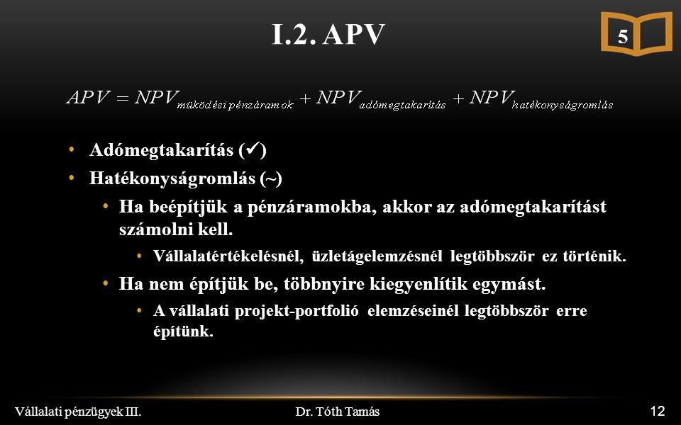 Dr. Tóth Tamás Vállalati pénzügyek III. 12 I.2.