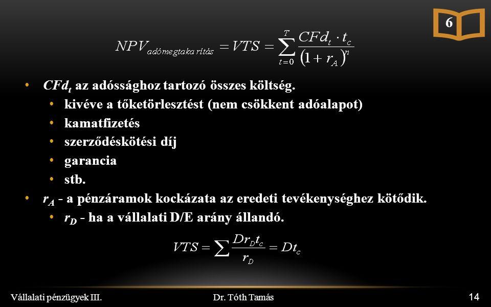 Dr. Tóth Tamás Vállalati pénzügyek III. 14 CFd t az adóssághoz tartozó összes költség.