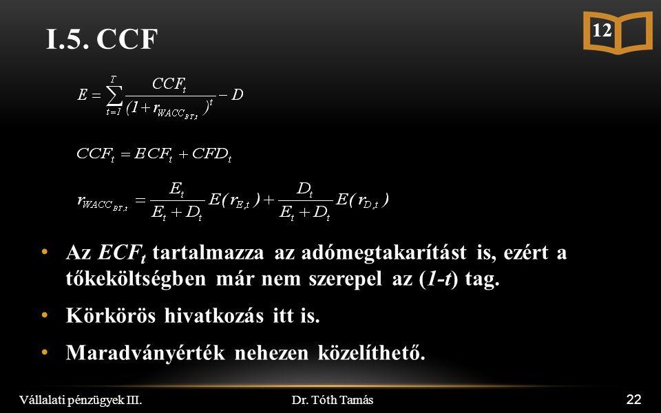 Dr. Tóth Tamás Vállalati pénzügyek III. 22 I.5.