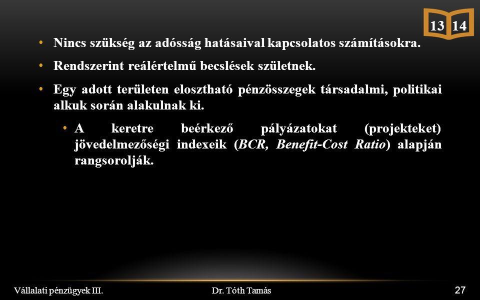 Dr. Tóth Tamás Vállalati pénzügyek III.