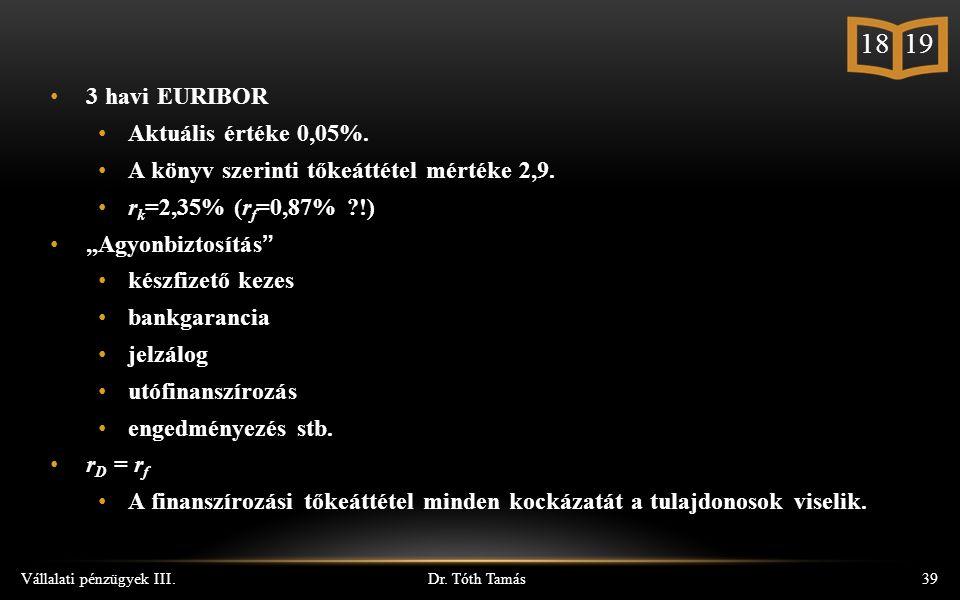 Dr. Tóth Tamás Vállalati pénzügyek III.39 3 havi EURIBOR Aktuális értéke 0,05%.