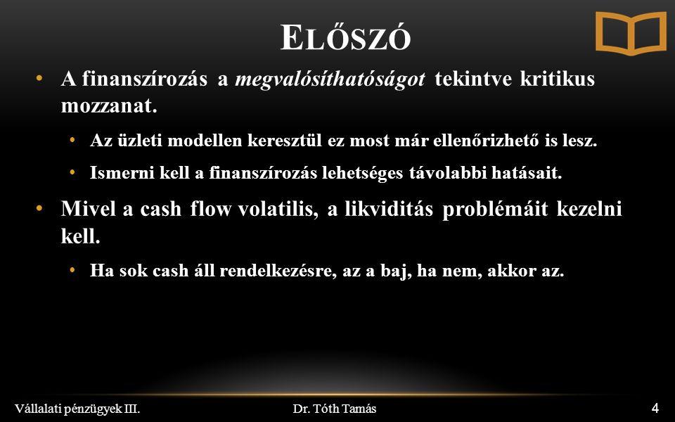 Dr.Tóth Tamás Vállalati pénzügyek III.65 CFD n Az adósság utolsó éves piaci értéke.