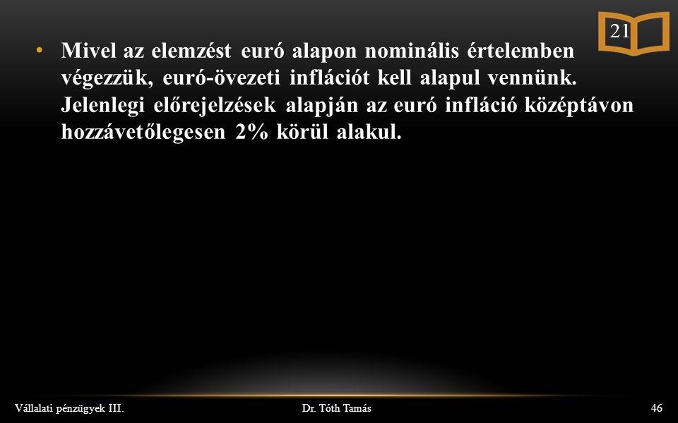 Dr. Tóth Tamás Vállalati pénzügyek III.46 Mivel az elemzést euró alapon nominális értelemben végezzük, euró-övezeti inflációt kell alapul vennünk. Jel