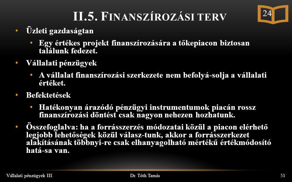 Dr. Tóth Tamás Vállalati pénzügyek III.51 II.5.