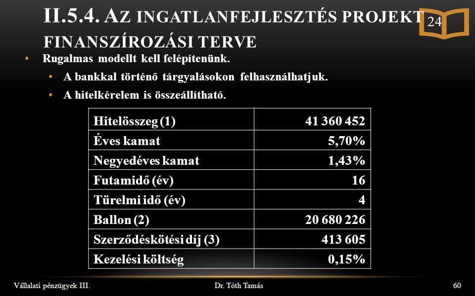 Dr. Tóth Tamás Vállalati pénzügyek III.60 II.5.4.