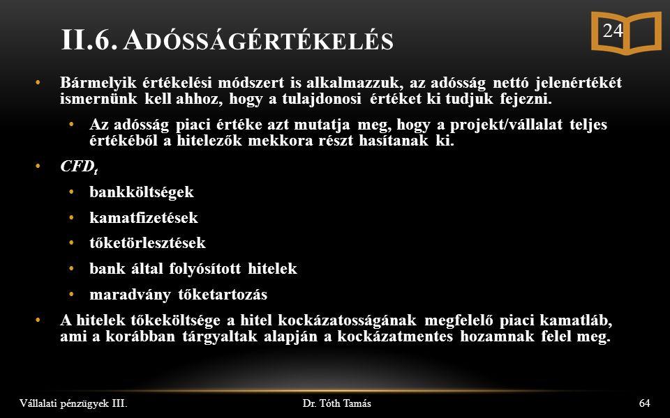 Dr. Tóth Tamás Vállalati pénzügyek III.64 II.6.