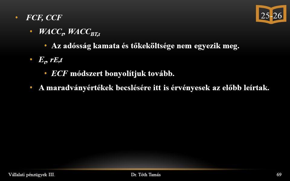 Dr. Tóth Tamás Vállalati pénzügyek III.69 FCF, CCF WACC t, WACC BT,t Az adósság kamata és tőkeköltsége nem egyezik meg. E t, r E,t ECF módszert bonyol