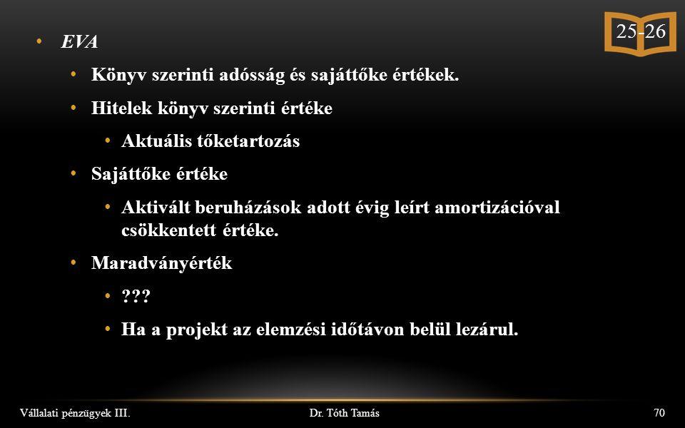 Dr. Tóth Tamás Vállalati pénzügyek III.70 EVA Könyv szerinti adósság és sajáttőke értékek.
