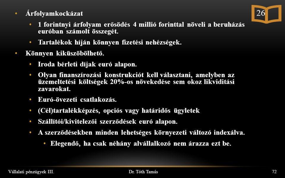 Dr. Tóth Tamás Vállalati pénzügyek III.72 Árfolyamkockázat 1 forintnyi árfolyam erősödés 4 millió forinttal növeli a beruházás euróban számolt összegé