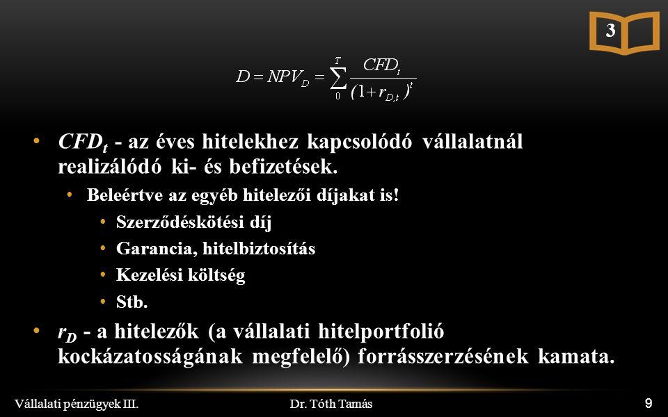 Dr.Tóth Tamás Vállalati pénzügyek III.70 EVA Könyv szerinti adósság és sajáttőke értékek.