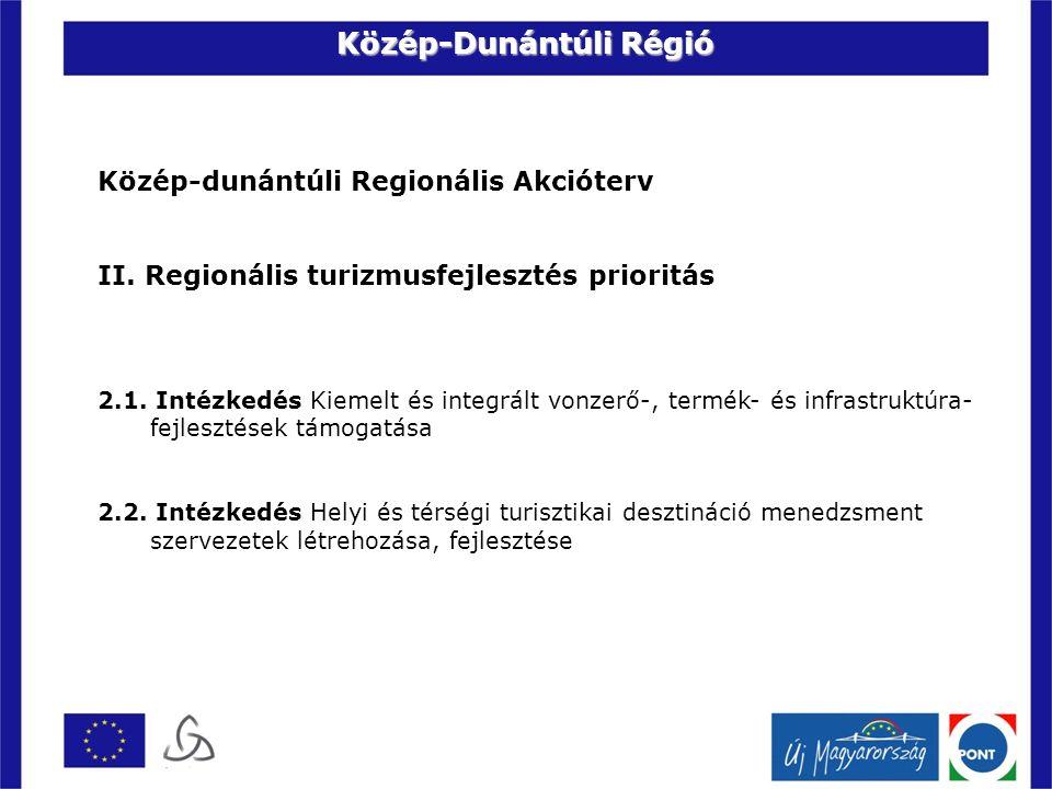 Közép-dunántúli Regionális Akcióterv II. Regionális turizmusfejlesztés prioritás 2.1.