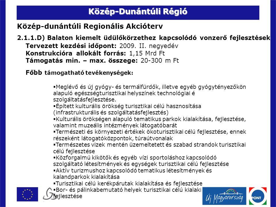 Közép-dunántúli Regionális Akcióterv 2.1.1.D) Balaton kiemelt üdülőkörzethez kapcsolódó vonzerő fejlesztések Tervezett kezdési időpont: 2009.