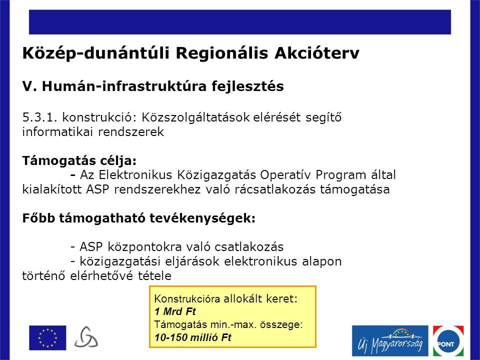 Közép-dunántúli Regionális Akcióterv V. Humán-infrastruktúra fejlesztés 5.3.1.