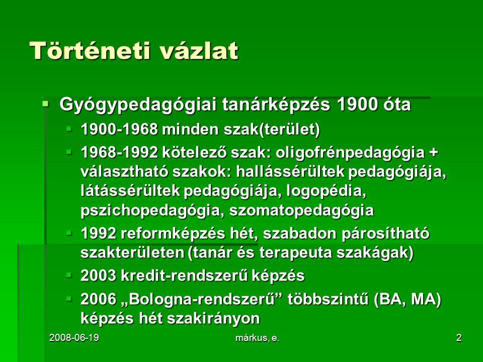 """2008-06-19márkus, e.2 Történeti vázlat  Gyógypedagógiai tanárképzés 1900 óta  1900-1968 minden szak(terület)  1968-1992 kötelező szak: oligofrénpedagógia + választható szakok: hallássérültek pedagógiája, látássérültek pedagógiája, logopédia, pszichopedagógia, szomatopedagógia  1992 reformképzés hét, szabadon párosítható szakterületen (tanár és terapeuta szakágak)  2003 kredit-rendszerű képzés  2006 """"Bologna-rendszerű többszintű (BA, MA) képzés hét szakirányon"""