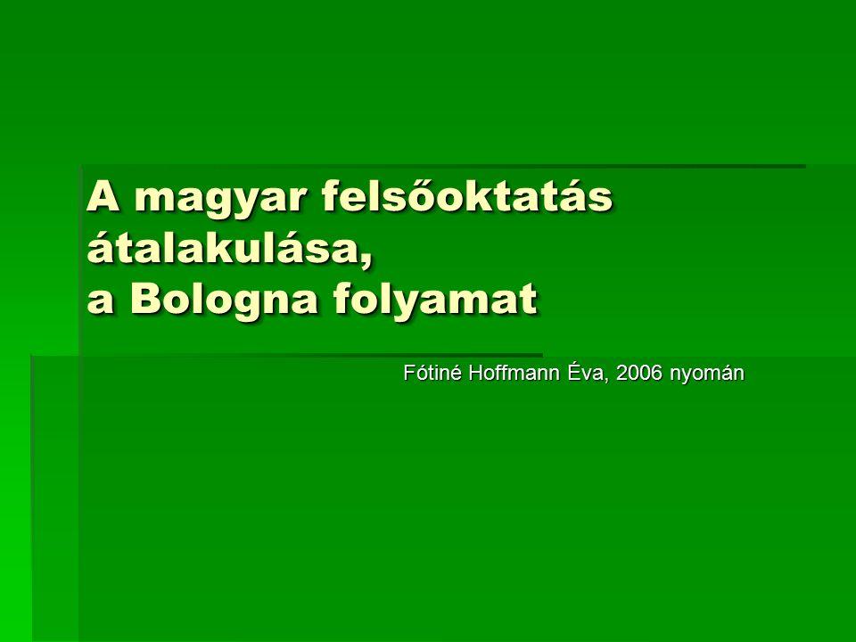 A magyar felsőoktatás átalakulása, a Bologna folyamat Fótiné Hoffmann Éva, 2006 nyomán