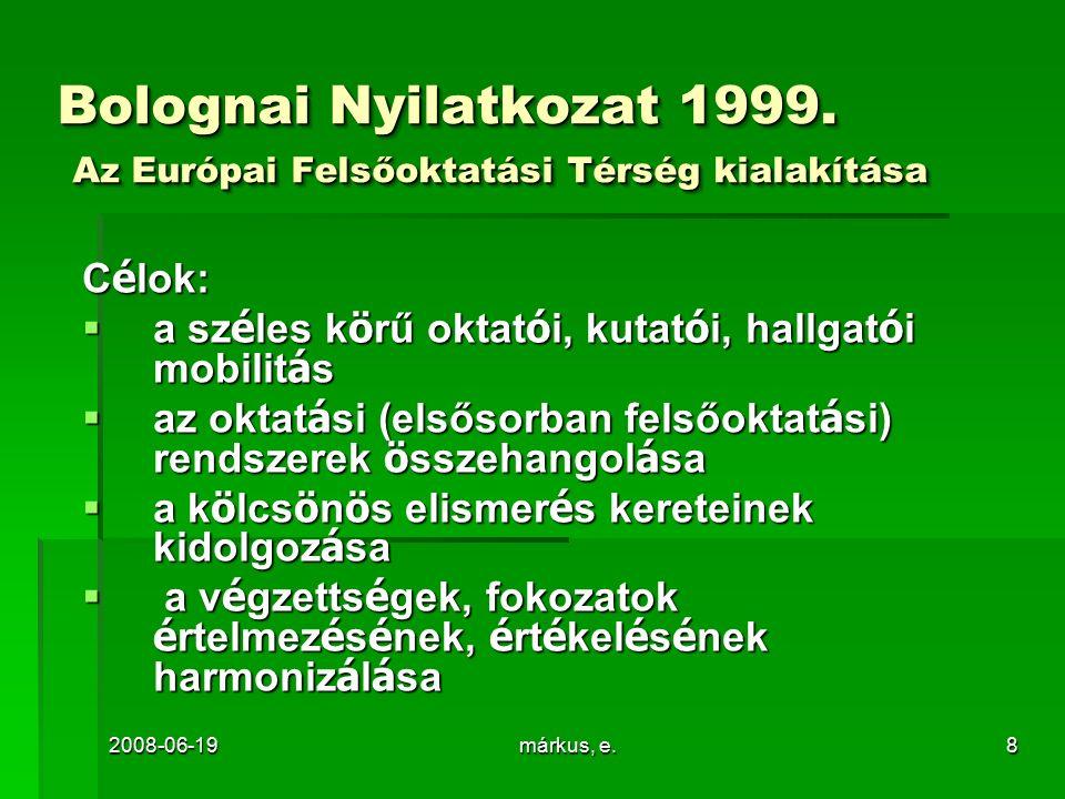 2008-06-19márkus, e.8 Bolognai Nyilatkozat 1999. Az Európai Felsőoktatási Térség kialakítása C é lok:  a sz é les k ö rű oktat ó i, kutat ó i, hallga