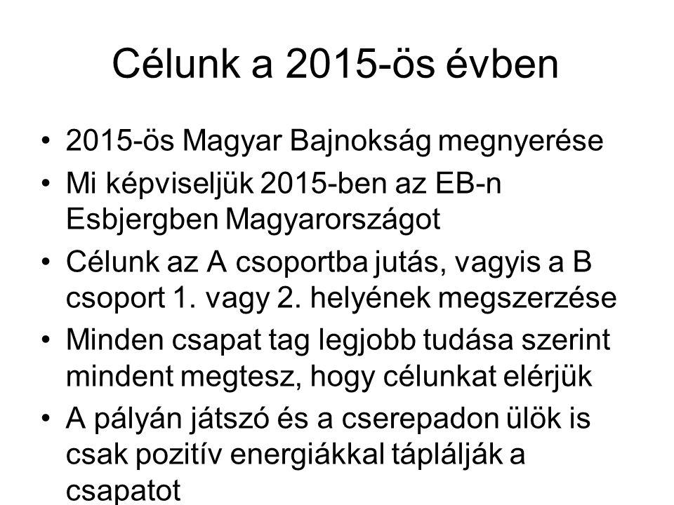 Célunk a 2015-ös évben 2015-ös Magyar Bajnokság megnyerése Mi képviseljük 2015-ben az EB-n Esbjergben Magyarországot Célunk az A csoportba jutás, vagy