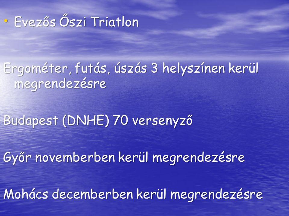 Evezős Őszi Triatlon Evezős Őszi Triatlon Ergométer, futás, úszás 3 helyszínen kerül megrendezésre Budapest (DNHE) 70 versenyző Győr novemberben kerül megrendezésre Mohács decemberben kerül megrendezésre