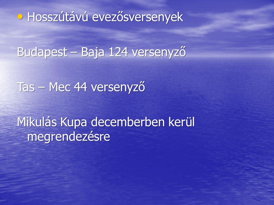 Hosszútávú evezősversenyek Hosszútávú evezősversenyek Budapest – Baja 124 versenyző Tas – Mec 44 versenyző Mikulás Kupa decemberben kerül megrendezésre