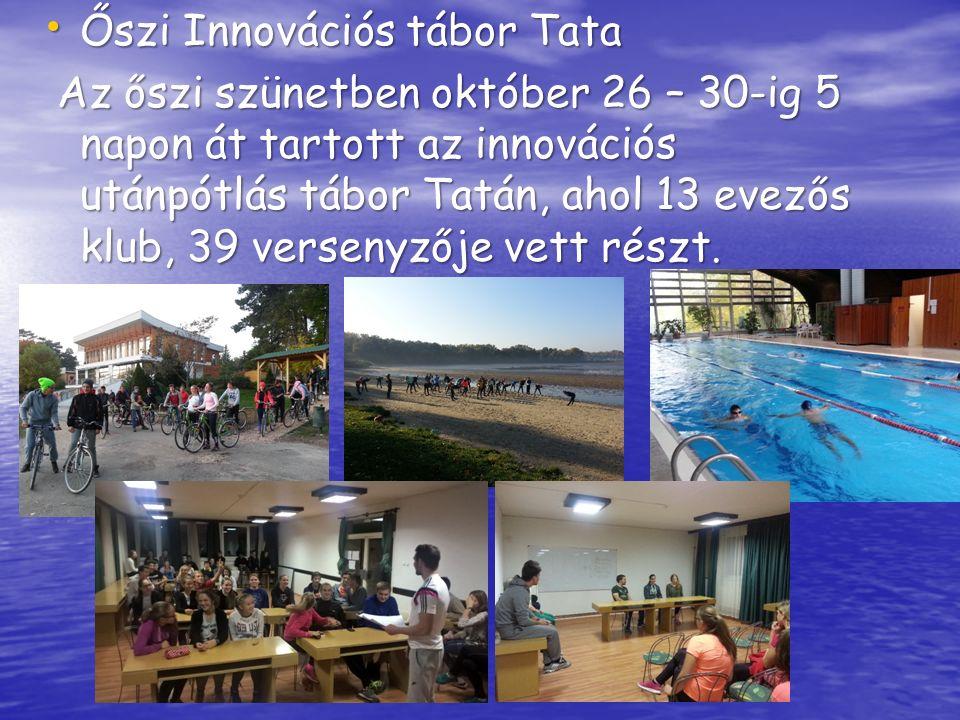 Őszi Innovációs tábor Tata Őszi Innovációs tábor Tata Az őszi szünetben október 26 – 30-ig 5 napon át tartott az innovációs utánpótlás tábor Tatán, ahol 13 evezős klub, 39 versenyzője vett részt.