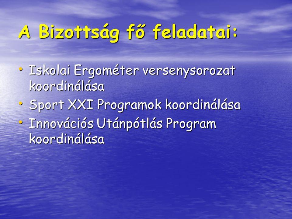 A Bizottság fő feladatai: Iskolai Ergométer versenysorozat koordinálása Iskolai Ergométer versenysorozat koordinálása Sport XXI Programok koordinálása Sport XXI Programok koordinálása Innovációs Utánpótlás Program koordinálása Innovációs Utánpótlás Program koordinálása