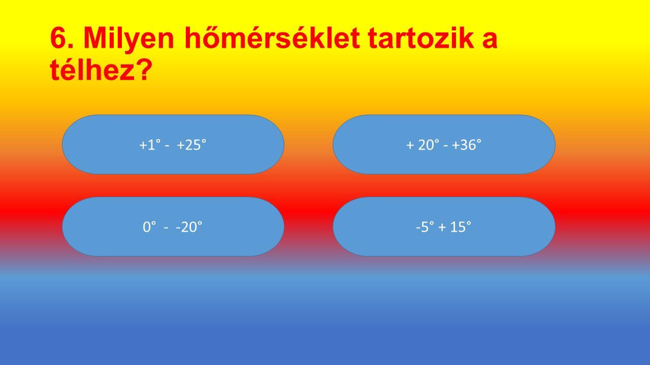 6. Milyen hőmérséklet tartozik a télhez? + 20° - +36° 0° - -20° +1° - +25° -5° + 15°