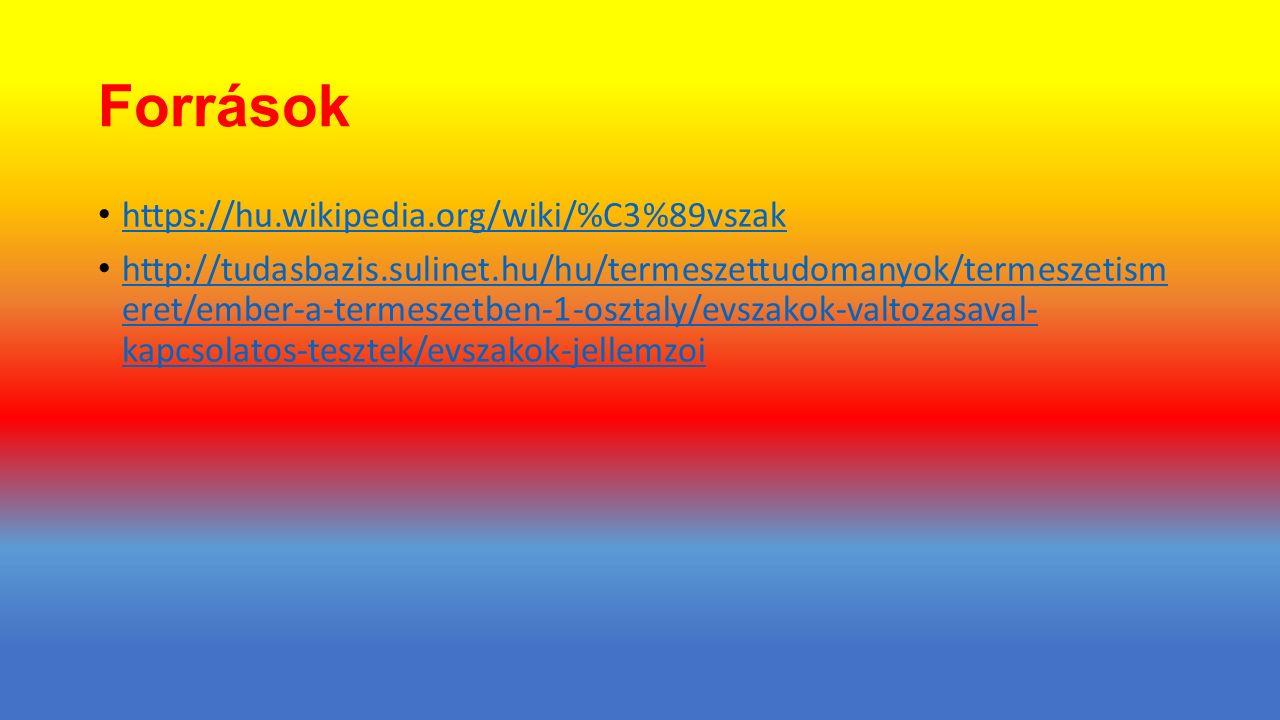 Források https://hu.wikipedia.org/wiki/%C3%89vszak http://tudasbazis.sulinet.hu/hu/termeszettudomanyok/termeszetism eret/ember-a-termeszetben-1-osztaly/evszakok-valtozasaval- kapcsolatos-tesztek/evszakok-jellemzoi http://tudasbazis.sulinet.hu/hu/termeszettudomanyok/termeszetism eret/ember-a-termeszetben-1-osztaly/evszakok-valtozasaval- kapcsolatos-tesztek/evszakok-jellemzoi