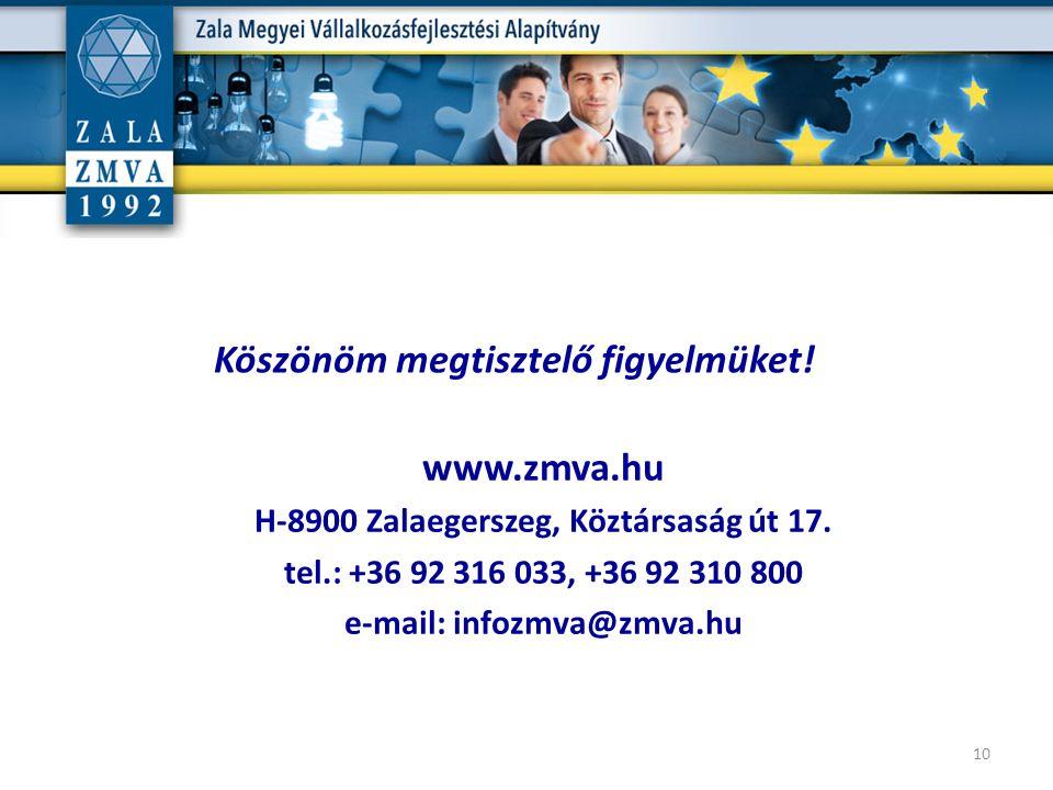 v www.zmva.hu H-8900 Zalaegerszeg, Köztársaság út 17. tel.: +36 92 316 033, +36 92 310 800 e-mail: infozmva@zmva.hu 10 Köszönöm megtisztelő figyelmüke
