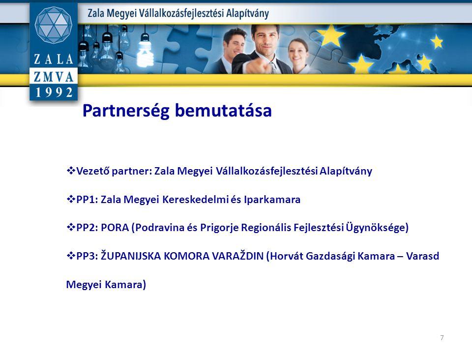  Vezető partner: Zala Megyei Vállalkozásfejlesztési Alapítvány  PP1: Zala Megyei Kereskedelmi és Iparkamara  PP2: PORA (Podravina és Prigorje Regio