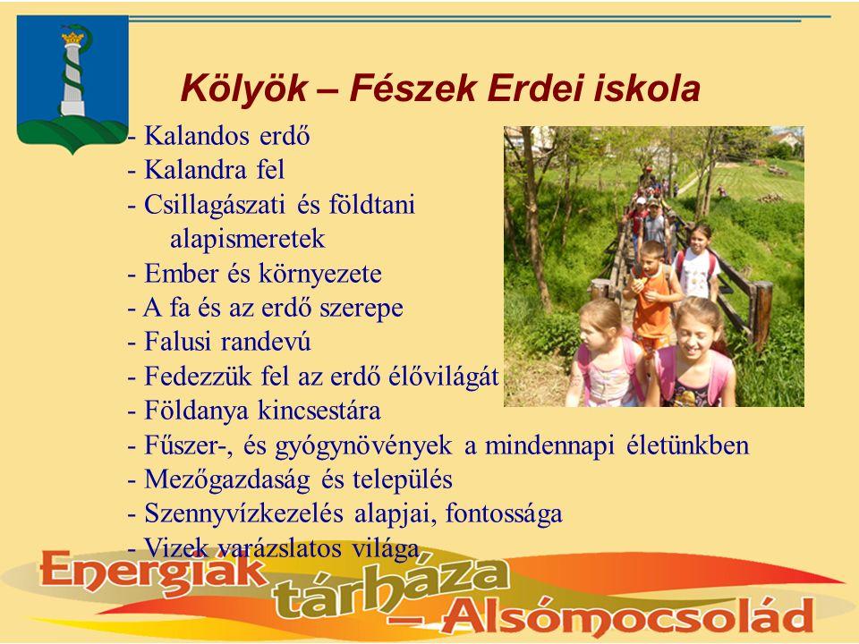 Kölyök – Fészek Erdei iskola - Kalandos erdő - Kalandra fel - Csillagászati és földtani alapismeretek - Ember és környezete - A fa és az erdő szerepe - Falusi randevú - Fedezzük fel az erdő élővilágát - Földanya kincsestára - Fűszer-, és gyógynövények a mindennapi életünkben - Mezőgazdaság és település - Szennyvízkezelés alapjai, fontossága - Vizek varázslatos világa