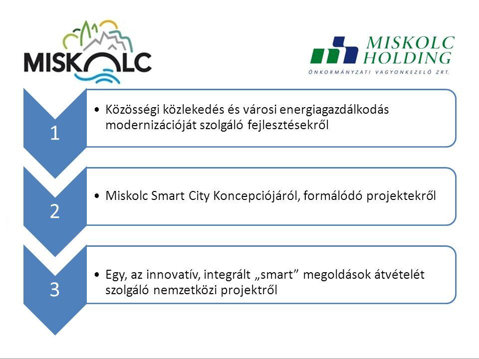 """1 Közösségi közlekedés és városi energiagazdálkodás modernizációját szolgáló fejlesztésekről 2 Miskolc Smart City Koncepciójáról, formálódó projektekről 3 Egy, az innovatív, integrált """"smart megoldások átvételét szolgáló nemzetközi projektről"""