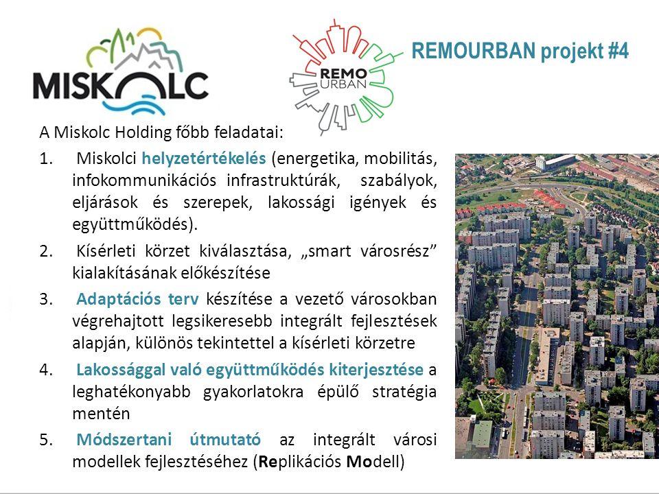 REMOURBAN projekt #4 A Miskolc Holding főbb feladatai: 1.