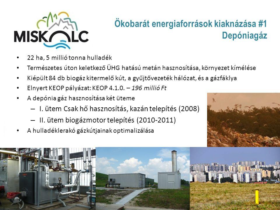 Ökobarát energiaforrások kiaknázása #2 Biomassza Teljesítmény: 3 MW; 41.000 GJ Hatásfok:85 % Hőfoklépcső: 90 / 70 °C Üzemidő: ~ 5.550 óra (csak fűtési idényben) Éves biomassza igény:4.500 tonna ÜHG kibocsátás csökkenés: 50.077 tonna Kiváltott földgáz menny.: 1.357.794 m 3 /év Ellátott lakások száma: 1.100 db Új távhő vezetékek hossza:170 fm DN 200 + 740 fm DN 150 Beruházás összköltsége: 780 MFt, ebből 320 MFt KEOP támogatás
