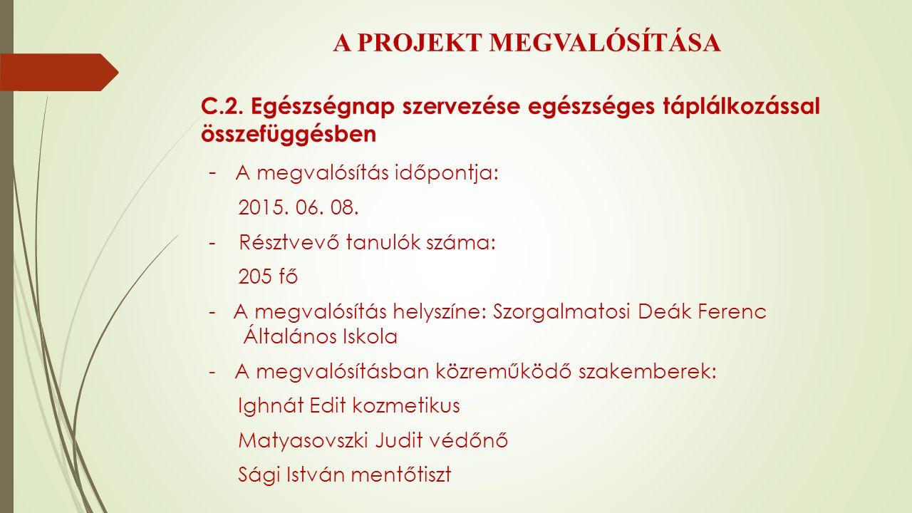 A PROJEKT MEGVALÓSÍTÁSA C.2.