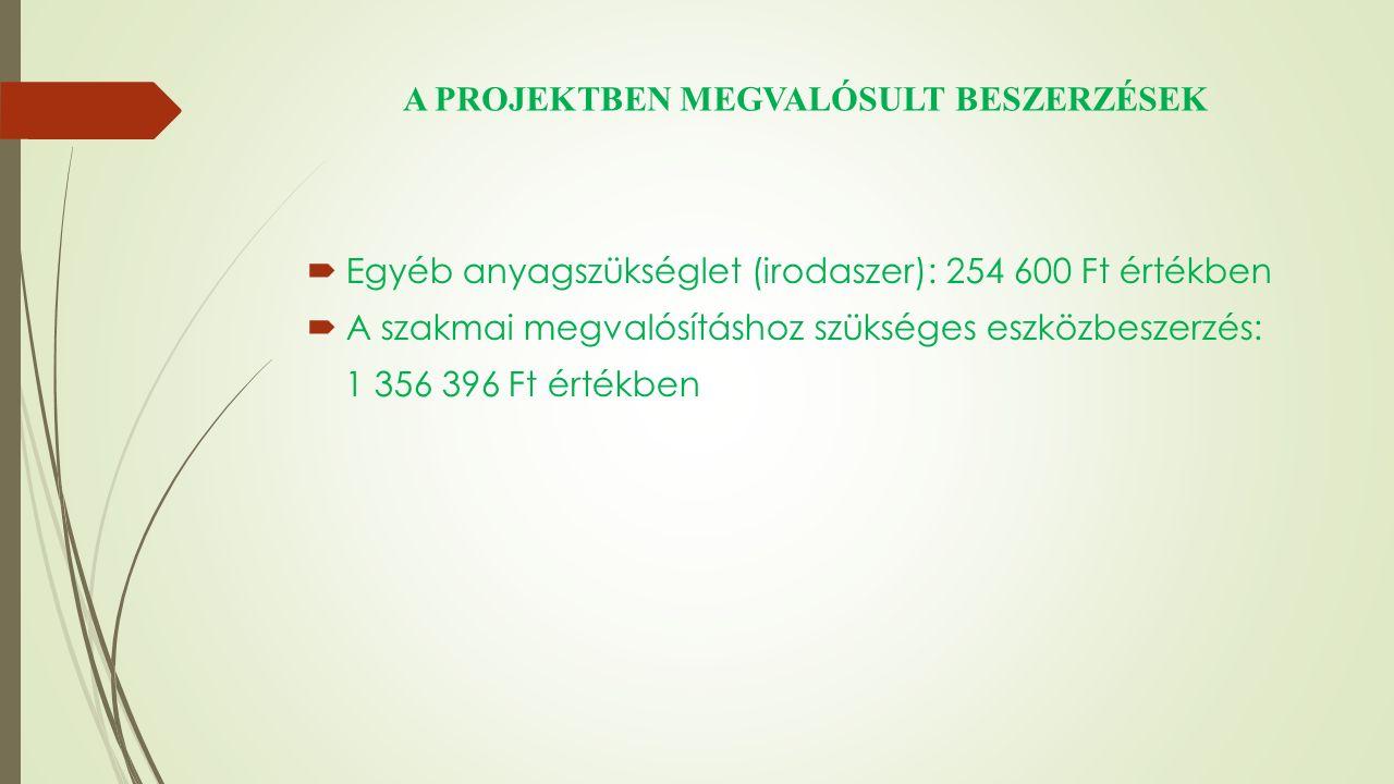 A PROJEKTBEN MEGVALÓSULT BESZERZÉSEK  Egyéb anyagszükséglet (irodaszer): 254 600 Ft értékben  A szakmai megvalósításhoz szükséges eszközbeszerzés: 1 356 396 Ft értékben